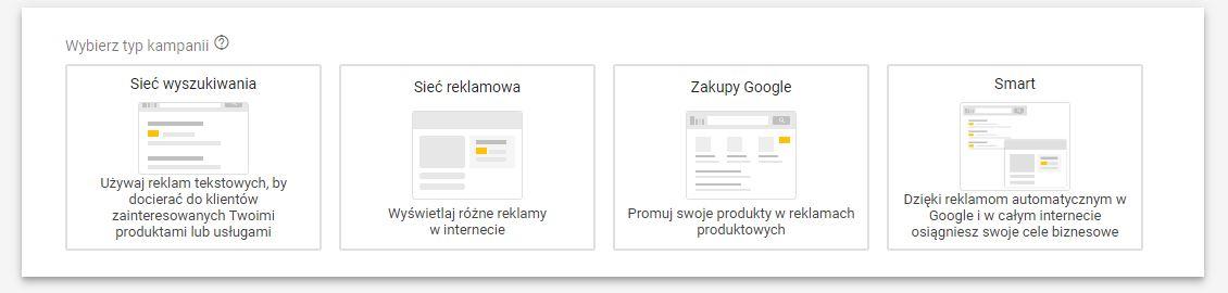 Typy kampanii reklamowych w Google Ads
